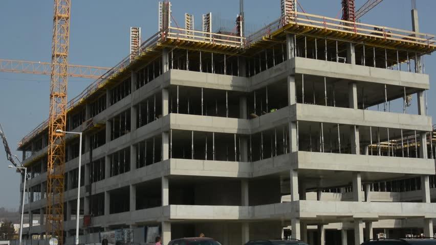 Apartment Building Construction apartments construction site with crane. crane and building