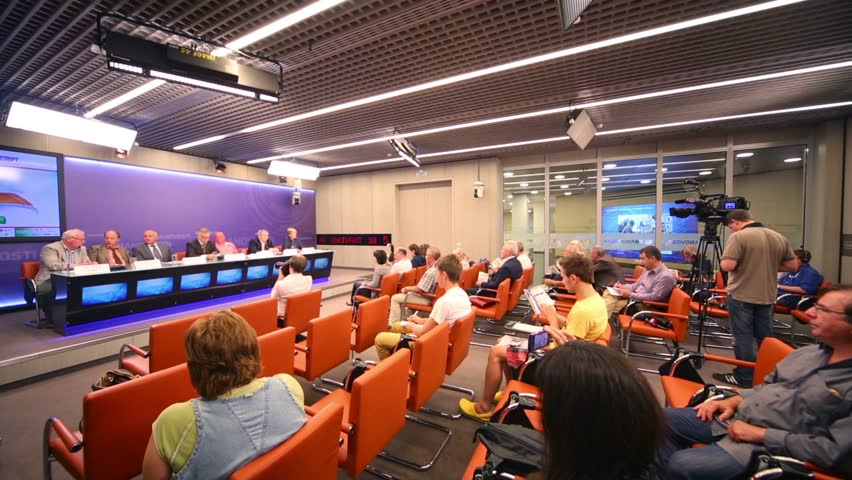 MOSCOW, RUSSIA - JUL 24, 2012: Journalists at Press Conference on International Summer Tennis Championships Moscow Open in Press Center RIA Novosti.