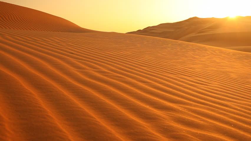 sunset in desert with light wind, loop #584236
