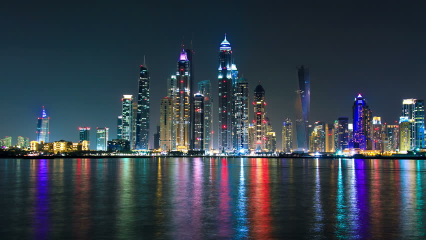 Dubai night timelapse made from  Palm Jumeirah