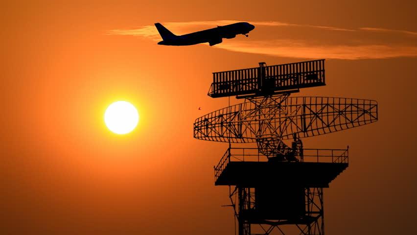 silhouette radar communication tower and plane (sound) #5882663