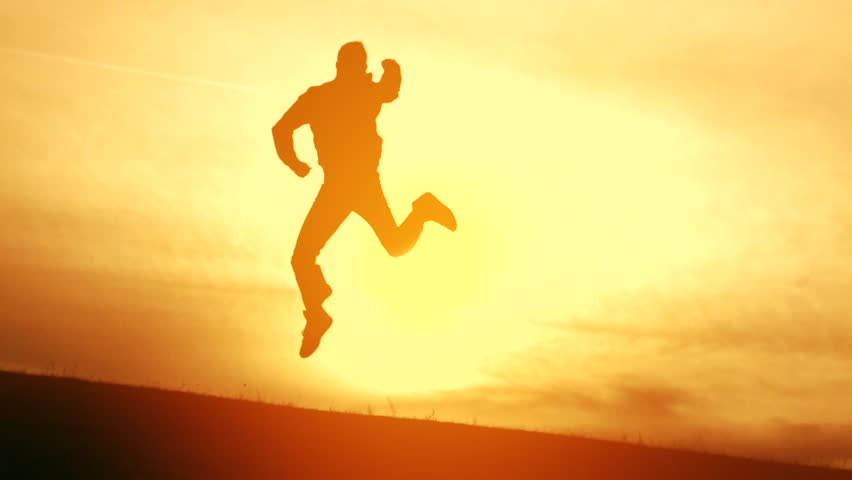 Young Man Jumping Joy Success Victory Silhouette Achievement