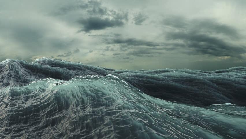 Rough Sea Loop 3D A loop of big waves in an agitated ocean. Camera goes underwater several times
