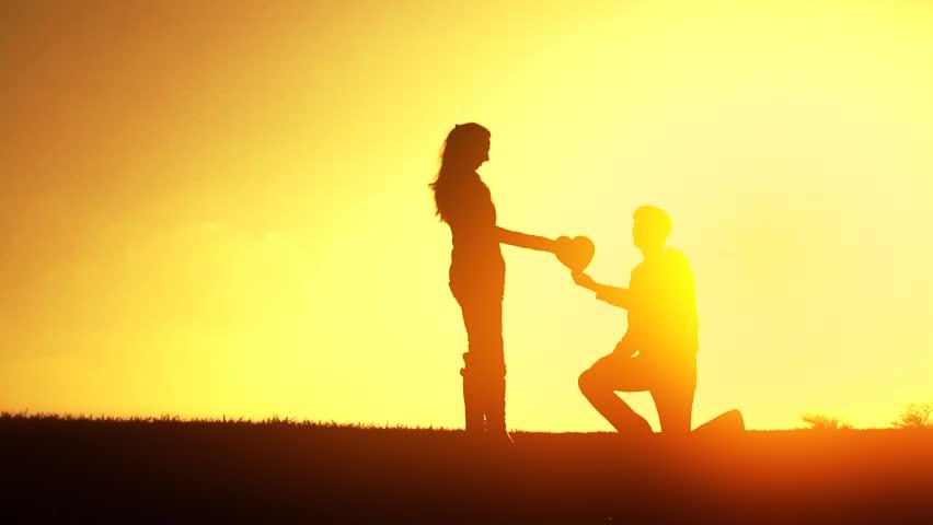 Couple Sunset Silhouette Love Heart Romance Concept