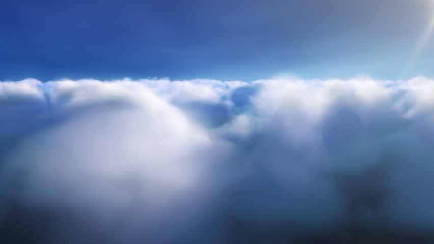 Flying through Beautiful Clouds Passing in Daytime.  High altitude view of clouds passing.
