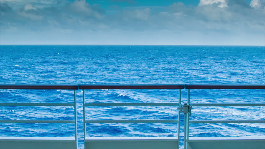 An Ocean Landscape View From The Deck Of A Ship At Sea With Steel And
