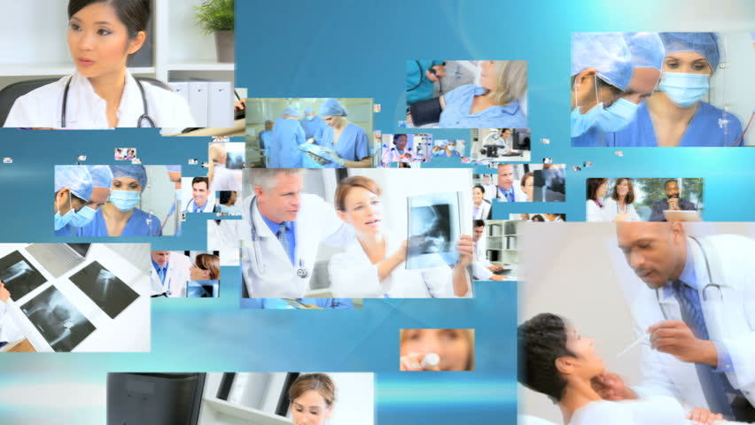 3D Fly Through Male And Female Multi Ethnic Doctors Treating ...