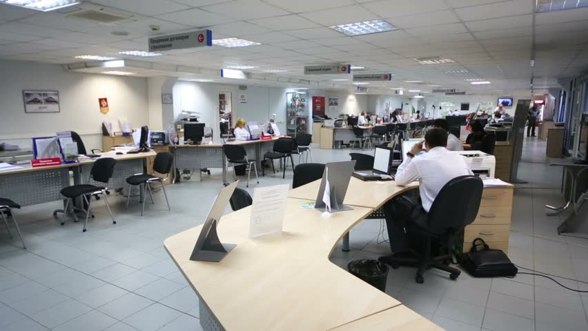 RUSSIA, MOSCOW - AUG 28, 2012 Side View To Office With Tables And ...