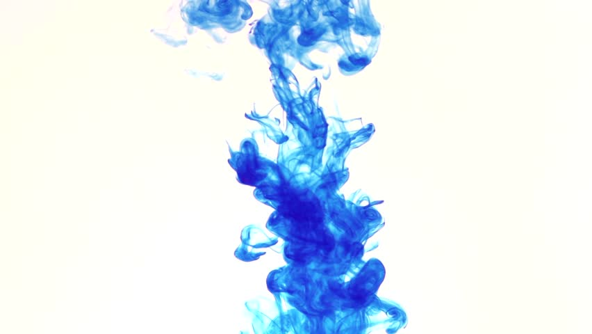 Blue Color Dissolving In Clear Water Against White Background
