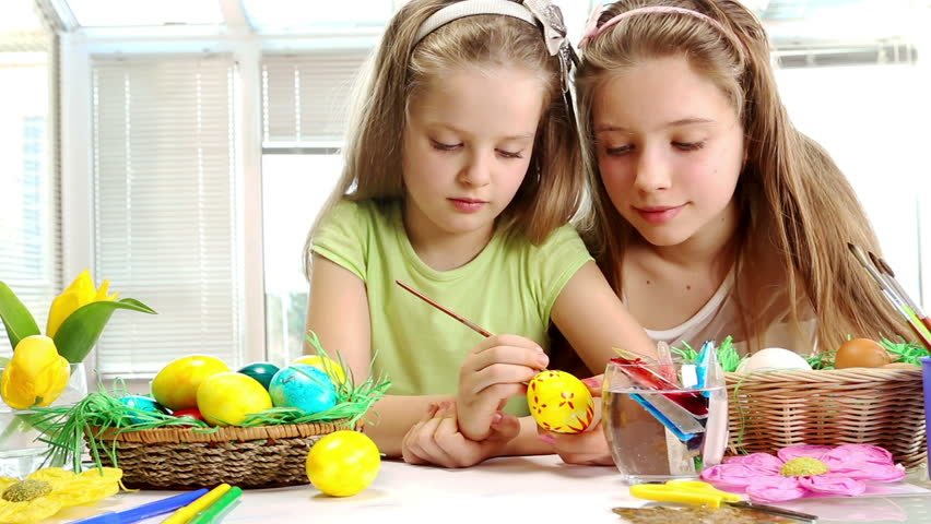 Children Paint Easter Eggs At Stock Footage Video 100 Royalty Free
