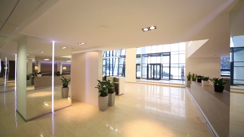 Stock video clip of reception zone and glass entrance door