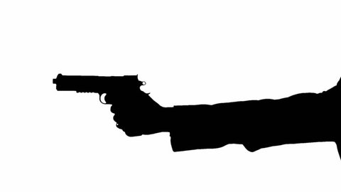 Silhouette of a mans arm with a gun, aiming down the sights and shooting his pistol. He could be a hit man for a gang or just security police looking for enemy combatants.