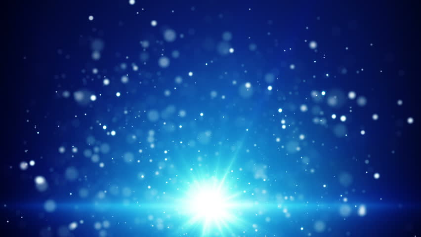Magical Fairy Dust Light Particles Blue Background Stock