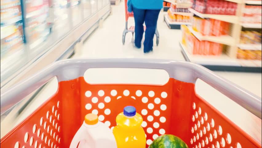 Shopping cart blur in market, timelapse 4K or 1920x1080 | Shutterstock HD Video #6050741