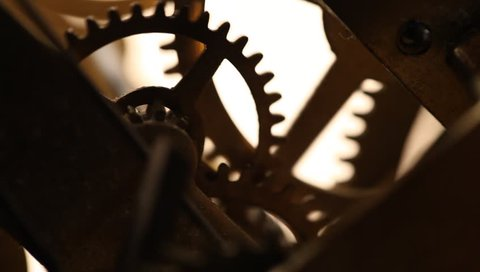 Close up of a internal clock mechanism