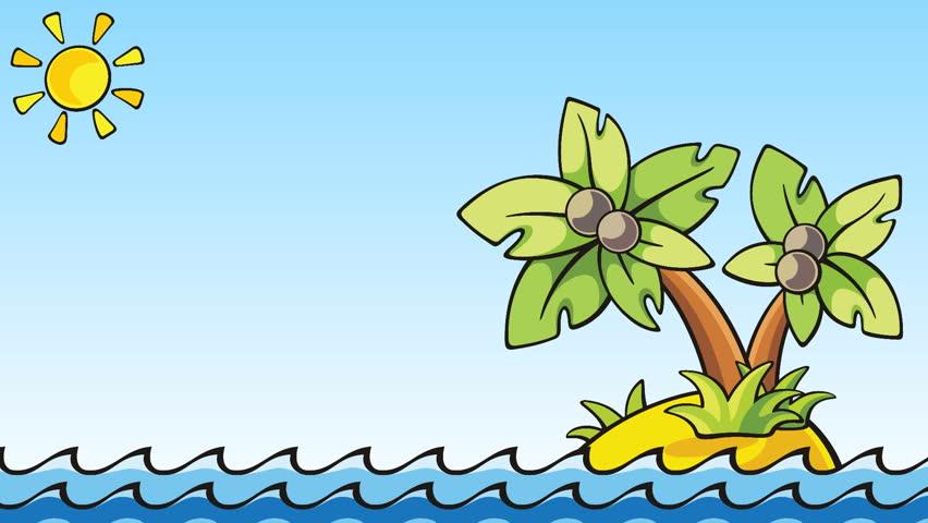 cartoon animation with palm island - loopable