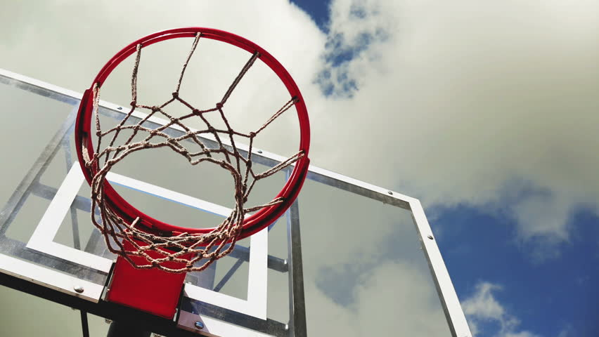 Basketball Hoop With Cage With Clouds Time Lapse Footage In ...