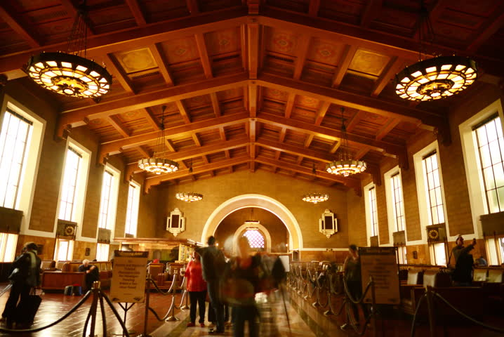 6K Time Lapse of Historic Union Station in Los Angeles with Commuters in Motion Blur