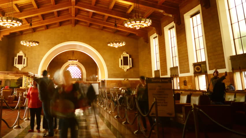 Time Lapse of Historic Union Station in Los Angeles with Commuters in Motion Blur -Pan-