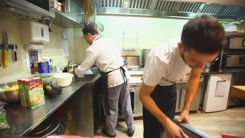 Restaurant Kitchen Video busy chefs in kitchen in restaurant stock footage video 6091616