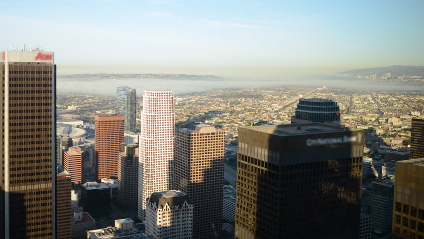 Time Lapse of  Morning Shadow Moving across Downtown Los Angeles Skyline -Pan- | Shutterstock HD Video #6113903
