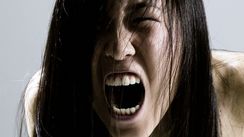 Horror movie scary chinese woman screaming wild