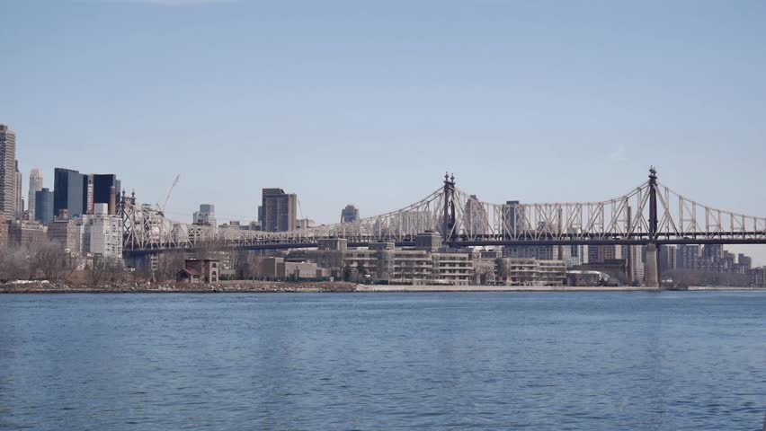 New York - March, 2014 - Wide Shot of Roosevelt Island.