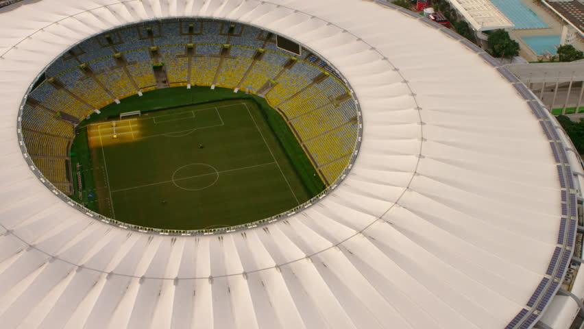 RIO DE JANEIRO, BRAZIL - JUNE: High-definition aerial shot of Maracana Stadium -