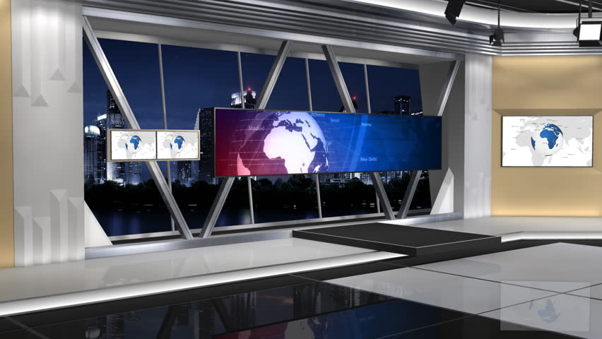 This is a News studio. It contains multiple camera angles,This is a part of the Series. Contains 1 push lens(8 Seconds) and 1 fixed focus lens(15 Seconds). The fixed focus lens are looping | Shutterstock HD Video #6134513