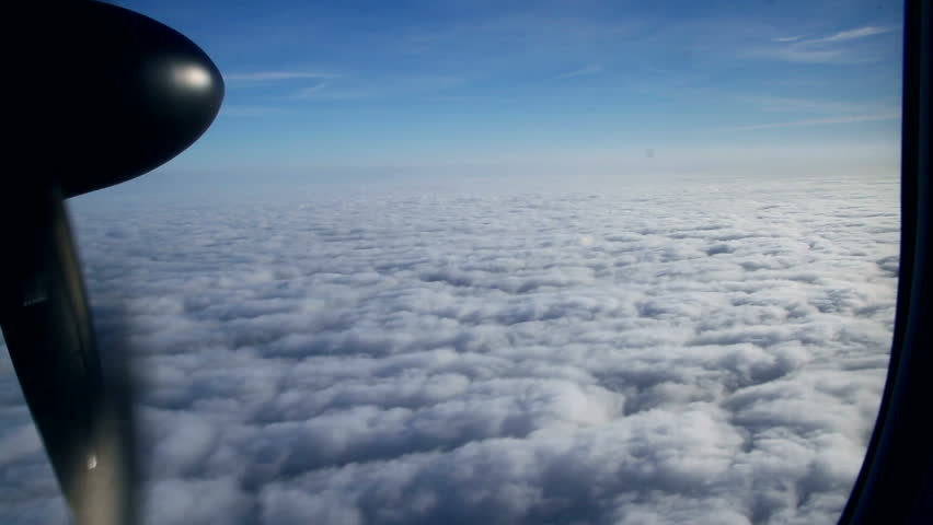 Beautiful view through an Airplane window.