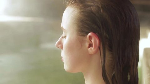 Close up of the side view of a woman at Japanese Hot springs and spa