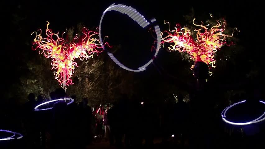 PHOENIX - APRIL 06: Chihuly in the Garden Exhibition at night. April 06, 2014 in Desert Botanical Garden, Phoenix, Arizona, USA.