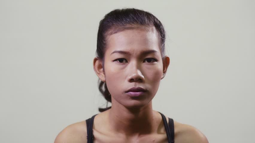 Asian girl staring