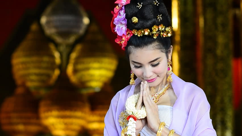 Stock Video Clip Of Thai Woman Salute Respect In Traditional