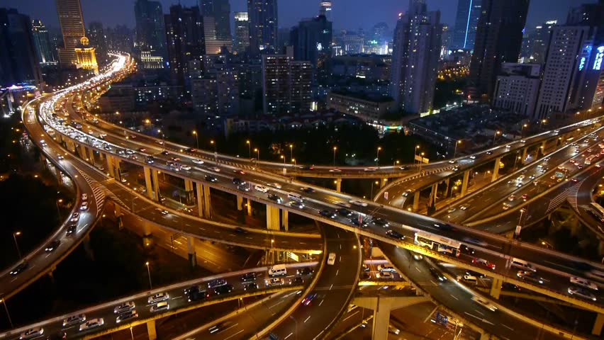 Aerial View of freeway busy city rush hour heavy traffic jam highway,shanghai Yan'an East Road Overpass,Timelapse of driving & cars racing by with streaking lights trail at night. gh2_07405 | Shutterstock HD Video #6160829