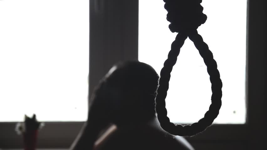 suicide, depressed man, gallows noose around his neck