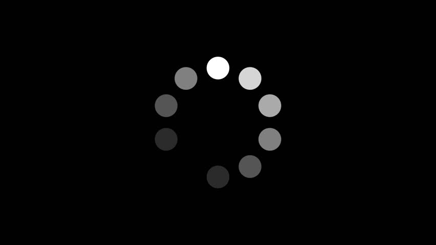 Loading Circle w/ Alpha (24fps). Ten animated dots fading in and out in sequence creating a rotating effect. Rendered large with an alpha channel to layer on top of other elements and footage. #6183923