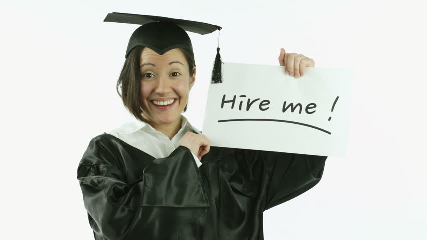 caucasian girl student graduating isolated on white unemployed with hire me sign