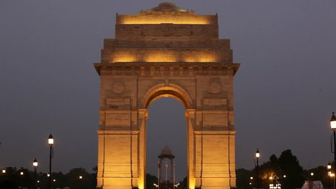 India Gate at night New Delhi, India.