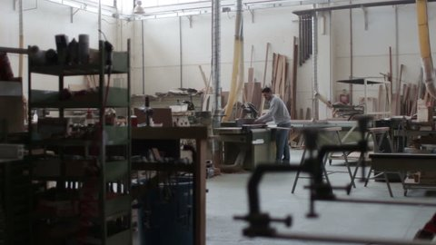 woodworker in a factory - carpenter in a carpentry - joinery - dolly