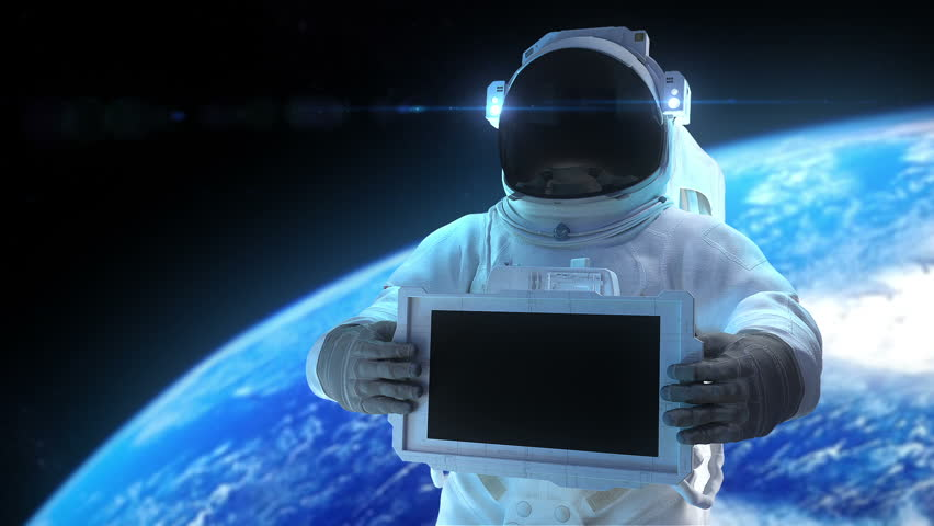 Astronaut with display. Animation of astronaut with the electronic display. Inside file matte mask, 3d trackers, and signs
