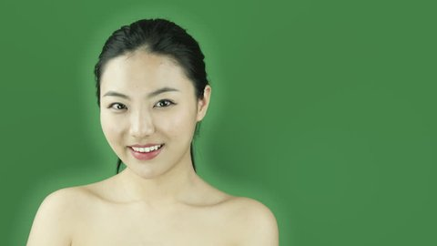 Asian girl naked beauty young adult isolated greenscreen green background sexy