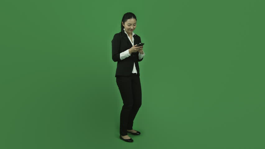 Asian business woman isolated greenscreen green background selfie photography | Shutterstock HD Video #6251393