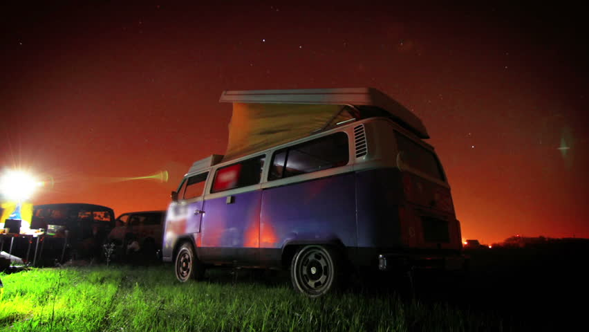 Night party in a parking lot filled with RVs vacation time lapse