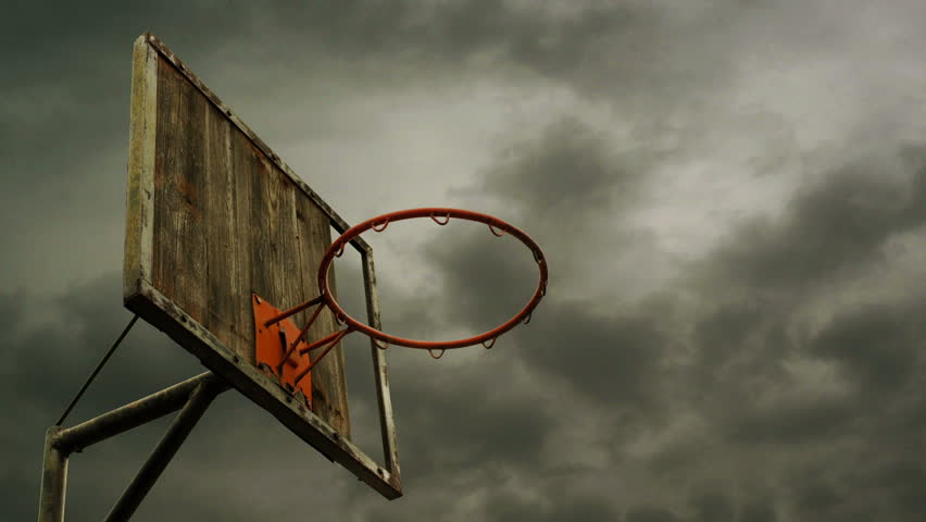Obsolete Basketball Hoop With Cage With Clouds Time Lapse Footage ...