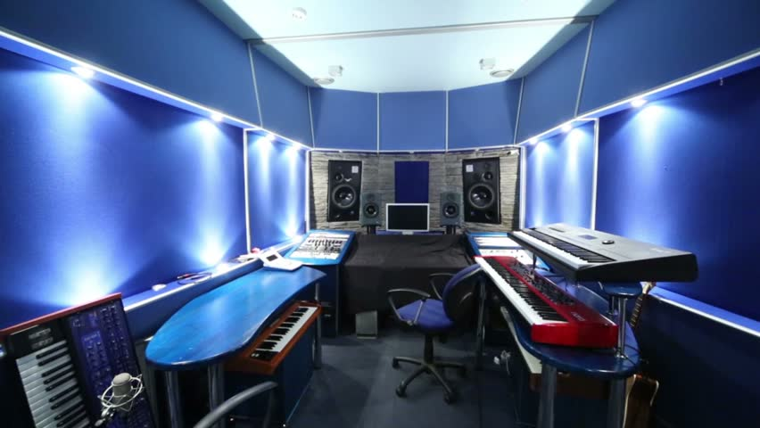 Blue Recording Studio With Equalizer Speakers And