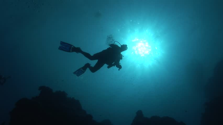 Divers in backlight in crystal clear water | Shutterstock HD Video #6271676
