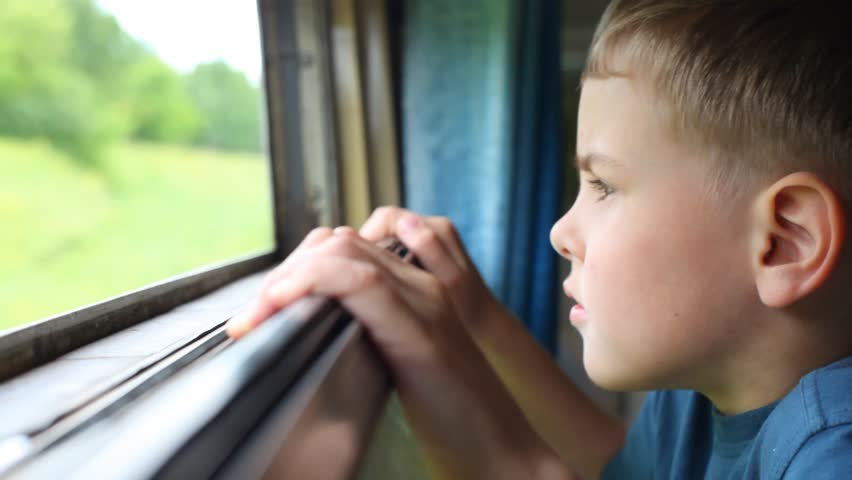 boy looking on nature from moving railway carriage