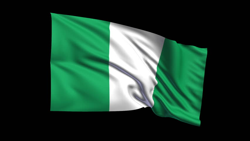 seamless looping federal republic of nigeria flag waving in the