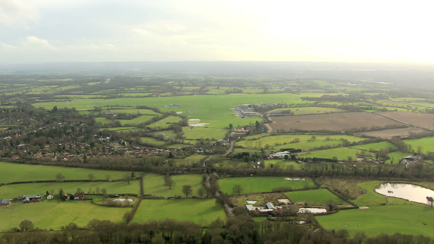 Aerial view rural countryside town, England, UK - Aerial view rural countryside town,